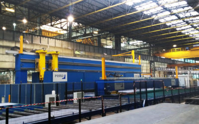 Automated thin panel fabrication for shipbuilding